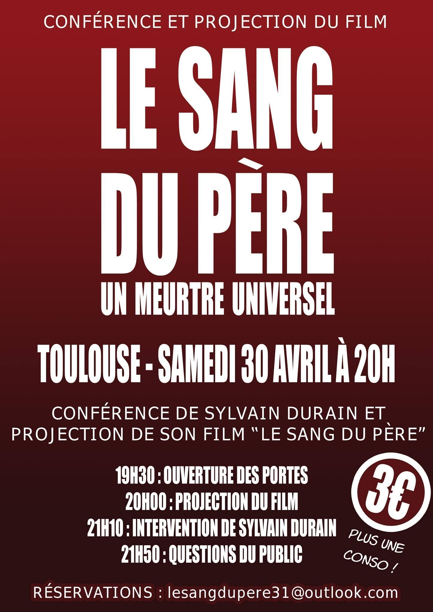 Conférence le 30 avril à Toulouse ANNULÉE